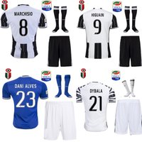 Wholesale 16 juventus the full set soccer jersey with socks home and away blue jersey with socks DYBALA MARCHISIOHIGUAIN football jersey with patch
