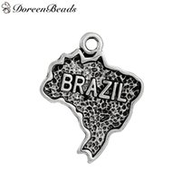 antique silhouette - Zinc Based Alloy Silhouette Map Brazil Charms Pendants Antique Silver mm quot x mm quot new jewelry makin
