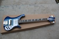 Wholesale HOT High quality Dark Blue Strings Rick Electric Bass Top Musical instruments