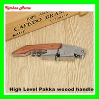 Wholesale High Level Pakka Wood Handle Wine Opener Creative Multi functional Stainless Steel Bottle Opener Corkscrew Special Gifts