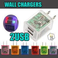 Wholesale Dual Usb US Plug Transparent W Wall Charger Double USB LED Light Power Charging Adapter For iPhone Plus Samsung S7 HTC