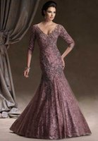 Wholesale V neckline long sleeve lace mother of the bride dresses for wedding guest dresses evning gowns formal dresses