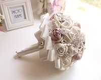Wholesale Rose Flower Wedding Bouquet Brooch Crystal Pearls Silk Handmade Bridal Bridesmaid Flowers cm Diameter New