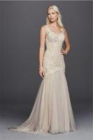 Wholesale Beaded Venice Lace Applique Trumpet Wedding Dress With Color SWG723 Light Champagne Illusion Back Bridal Dresses vestido de novia