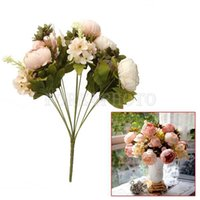 Wholesale 1 Bouquet Artificial Peony Silk Flowers Home Wedding Party Decoration Light Pink
