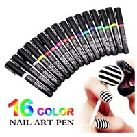 Wholesale 16 Colors Nail Art Pen Painting Design Nail Tools UV Gel Polish Nail Pens D Nail Art DIY Decoration Beauty Tools Manicure
