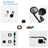 Wholesale Skylet For iPhone S C S Home Button With Flex Cable Assembly Replacement Part Black White Gold By DHL