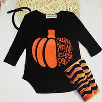 band outfits - 2016 New Halloween Baby Pumpkin Romper pieces with hair band New born Costume Cotton Long Sleeve Dress Tutu Outfit Headband romper socks