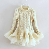 baby warm dress - 5PCS Girls Tutu Lace Sweater Dress Red Cotton Long Sleeve Dresses Fashion Warm Baby Children Clothing Winter Fall Christmas Pricess Dress