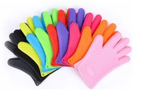 Wholesale Silicone Kitchen Cooking Gloves Microwave Oven Non slip Mitt Heat Resistant Silicone Home Gloves Baking BBQ gloves