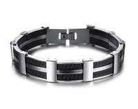 Wholesale MEN JEWELRY Fashion Big Cuff Wristband Genuine Silicone Thick Wide Bracelet Bangle True Men Accessory Gift Hot Sale Silicone Bracelet