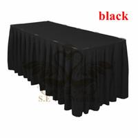 Wholesale Black Color Ruffled Poly Table Skirt Wedding Table Cloth Skirting