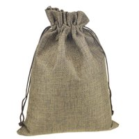 Wholesale 16 x22 cm Linen Fabric jute bag pouches Drawstring Gift package bags Burlap Bags with Nylon Drawstring Reusable home decor