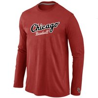 active practice - Hot Chicago White Sox Long Sleeve T Shirt O Neck Cheap Tees Shirts Fashion Cubs Cotton Practice T shirt Colors