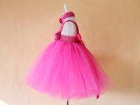 beautiful baby costumes - New costume baby evening summer dress with big flower kids fashion tutu dress and beautiful headband