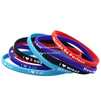 Wholesale 6PCS Set Seconds Of Summer Skinny Silicon Bracelet I Love SOS Wristband With Name Luke Mikey Cal Ash
