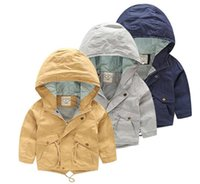 american standard suppliers - 45553 Whoelsale New Autumn Fashion Boys Trench Solid Hooded Boys Coats Casual Kids Outerwears Clothes Supplier