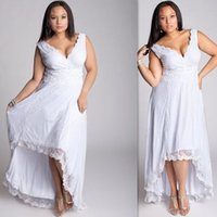 A-Line Model Pictures 2016 Spring Summer Plus Size Summer Bohemian Wedding Dresses High Low White Lace 2016 Beach Bridal Gowns Custom Made Maxi Fat Women Cap Sleeves Brides Dress