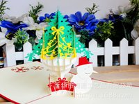 Wholesale Christmas Tree Down Snowman Three dimensional Originality Christmas Greeting Card New Year Blessing Card Can Customized