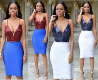 b v bag - 2016 Sexy Sequin Stitching Sling Bag Hip Skirt Europe And America Deep V Neck Sleeveless Night Dress B