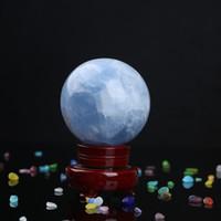2.4inchCelestite Cristal Sphère Bleu ciel Célestin Druzy Rare Ballon de pierre Reiki Madagascar Spécimen Minéral Métaphysique Healing Quartz S