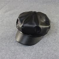 Wholesale 2016 Fashion women octagonal hat leather winter Berets black burgundy Bordeaux two colors pc