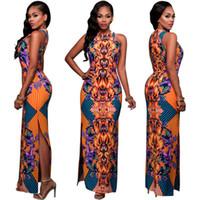 Wholesale Digital positioning printed dress sexy nightclub orange bandage dress tight skirt slit skirt