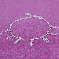 bambo plants - 12Pcs Women New Exquisite Hollow Leaf Anklets Sterling Silver Jewelry Brand Trendy Fashion Bambo Foot Chain Party Gift
