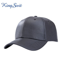 artificial leather material - KingSwit Newest Adjustable Baseball Caps For Men Women Black Snapback Caps PU Material Hats Casquette KH036