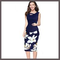 Wholesale Dropshipping Top Fashion Women Work Summer Seven Colors Pencil Vestidos Print Floral Patchwork Stretch Casual Dresses Plus Size S XL