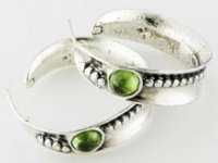 artisan sterling silver - Artisan Collection Of Israel Round Cabochon Peridot Sterling Silver Circle Earrings Cheap silver bamboo hoop earrings
