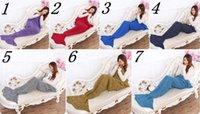 Wholesale 195X90cm Super Soft Hand Crocheted cartoon Mermaid Tail Blanket color Sofa Blanket air condition blanket siesta blanket