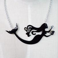 american black metal - New Night Club Women Jewelry Accessories Fashion Punk Metal Chain Acrylic Choker Black Mermaid Necklace Necklace