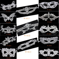 Wholesale 2016 New Sexy Halloween Masquerade Venetian Party Half Face White Lace Mask Woman Lady Sexy Mask For Christmas Disco