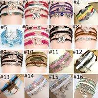 angels games - 44 different Styles Charm Bracelet DIY Infinite Believe Games Anchor Love Jesus Owl Multilayer Pattern Leather Bracelets