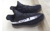Wholesale kanye west v2 Boost shoes SPLY Season Orang Stripe running shoes boost Sneakers Receipt Boxes
