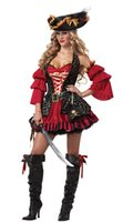 adult pirate halloween costumes - Sexy Adult Five Pieces Spanish Pirate Costume Halloween Women Cosplay Costumes Disfraces Carnaval Gothic Lolita Dress