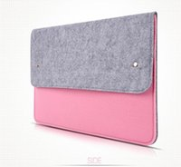 "Wholesale Ship Macbook Pro China - Button storage Laptop bag macbookpro air 13.3 "" felt notebook computer bag case drop shipping Can be customized adding logo"
