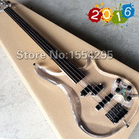 bass guitar head - New Arrival Fretless Bass Factory Custom string P Electric Bass guitar Transparent acrylic Head Body Black hardware