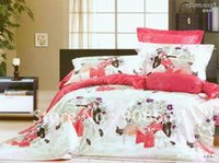 bench sheet - 4pcs Comforter covers Cotton red romantic lover sitting on a bench cartoon pattern Queen Full bed in a bag sets with sheets