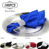 Wholesale 100pc Top Quality Factory Direct Sale Cheap Table Napkins Polyester Fabric Cloth Wedding table napkin Servitte Sale white Vintage Napkins