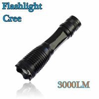 Wholesale Black LED Flashlights Durable Cree XML T6 LED Torches for Camping Lumen Aluminum Alloy Material Hot sale XM LT6 bulds
