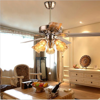 Wholesale Stylish European Antique Ceiling Fan With Light Restaurant Living Room Lamp inch Stainless Steel With Wood Blades Fan