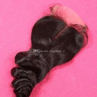 Wholesale Loose Wave Peruvian Hair Lace Closure Free Middle Part Wavy Lace Top Closures x4 Natural Color Inch DHL