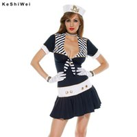adult navy costume - Sexy Sailor Costume For Adult Women Fashion Bow Dress With Hat Halloween Costume Cosplay Party Navy Costume
