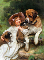 artwork dogs - New DIY D Children with dog mosaic diamond painting unfinished artwork Crafts cross Stitch full Diamond manual Hand painted