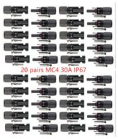 Wholesale 20PAIRS IP67 MC4 solar power connector Male Female Set PV Wire Cable accessory