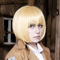 al por mayor ataque titán armin peluca-Ataque a Titán Armin Arlart pelo sintético pelucas bobo pelucas marrones pelucas cortas Cosplay