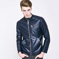 Wholesale Fall Men s Unique Design Leather Jacket Man Special Craft Super Solid Zipper Type Biker Jacket jaqueta de couro masculina
