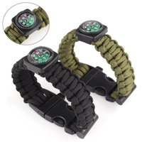 Wholesale 2016 New Outdoor Inches Survival Bracelet Rope WhistleKits With Compass Flint Fire Starter Colors